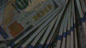 Высокое кино определения дует вне стог Соединенных Штатов Америки USD 100 100 доллары примечаний Федеральной Резервной системы сток-видео