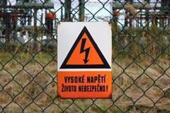 высокое напряжение тока знака изображения Стоковые Изображения