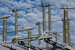 высокое напряжение тока изоляторов Стоковое Фото