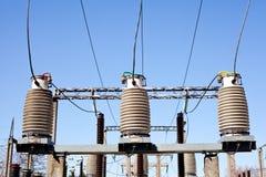высокое напряжение тока подстанции Стоковые Изображения
