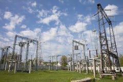 высокое напряжение тока подстанции Стоковое Фото
