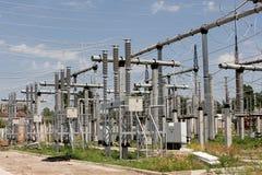 высокое напряжение тока подстанции части Стоковое Фото
