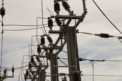 высокое напряжение тока столба Стоковая Фотография RF