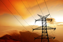 высокое напряжение тока столба Стоковые Фото