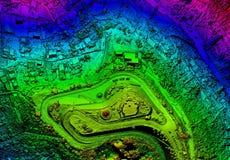 Высокое разрешение Orthorectified, карта Orthorectification воздушная используемая для фотограмметрии стоковая фотография rf