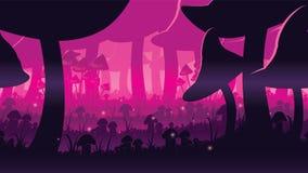 Высококачественная горизонтальная безшовная предпосылка ландшафта с глубоким лесом гриба Стоковое фото RF