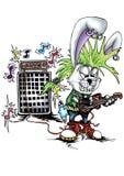 Высококачественная иллюстрация талисмана музыканта кролика зайчика панковского, крышки, предпосылки, обоев бесплатная иллюстрация