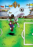 Высококачественная иллюстрация талисмана футболиста кролика зайчика, крышки, предпосылки, обоев бесплатная иллюстрация