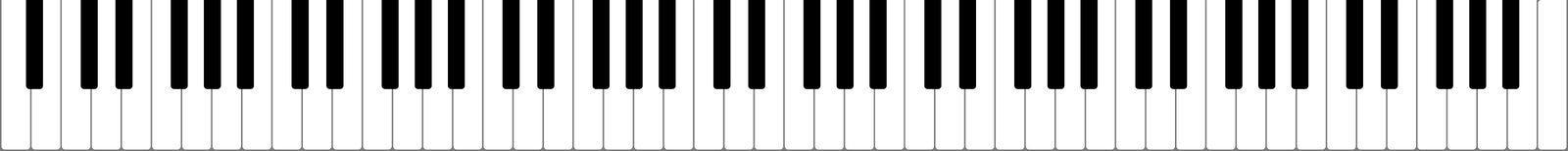 Высококачественная пропорциональная иллюстрация вектора во всю длину клавиатуры рояля 88 ключей иллюстрация штока