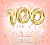 Высококачественное изображение вектора воздушного шара 100 золота в розовом небе бесплатная иллюстрация