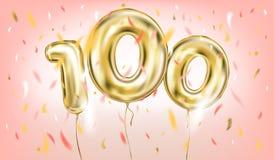 Высококачественное изображение вектора воздушного шара 100 золота на пинке бесплатная иллюстрация