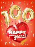 Высококачественное изображение вектора золотого воздушного шара 100 и сердца фольги красного на красной предпосылке иллюстрация вектора