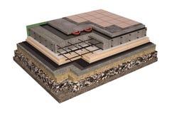 Высококачественные 3d представляют изображение компьютера учреждений и стен с изоляцией дома Стоковое Фото