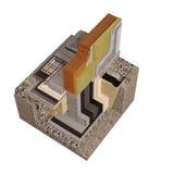 Высококачественные 3d представляют изображение компьютера учреждений и стен с изоляцией дома Стоковая Фотография