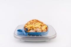 Высококалорийная вредная пища на масштабах стоковые изображения