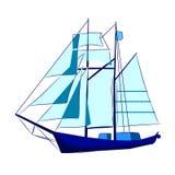 Высокорослая голубая иллюстрация вектора корабля ветрила стоковое фото rf