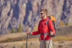 Высокорослый backpacker с поляками в руке Стоковые Фотографии RF