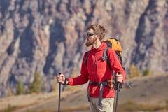 Высокорослый backpacker с поляками в руке Стоковое Изображение