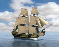 Высокорослая иллюстрация корабля моря плавания Стоковое Изображение RF