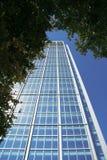 Высокорослое современное офисное здание как увидено от уровня муравья Стоковые Изображения