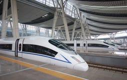 Высокоскоростной рельс, железнодорожный вокзал Пекина Стоковые Фотографии RF