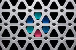 Высокотехнологичная иллюстрация решетки 3D металла с покрашенными этапами иллюстрация вектора
