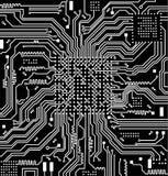 Высокотехнологичная предпосылка вектора монтажной платы радиотехнической схемы стоковые изображения