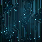 Высокотехнологичная предпосылка голубого цвета от доски компьютера с СИД и светящими неоновыми соединителями Цепь компьютера Боль стоковая фотография