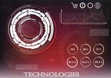 Высокотехнологичный Коммерческая статистика на красной предпосылке Стоковые Изображения RF