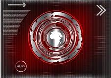 Высокотехнологичный Коммерческая статистика на красной предпосылке Стоковое Изображение