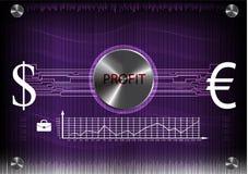 Высокотехнологичный Коммерческая статистика на фиолетовой предпосылке Стоковое Фото