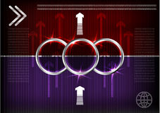 Высокотехнологичный Комплект линий на красной и фиолетовой предпосылке Стоковое Изображение RF