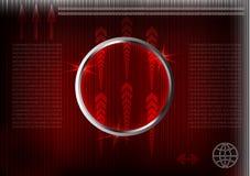Высокотехнологичный Комплект линий на красной предпосылке Стоковое Изображение