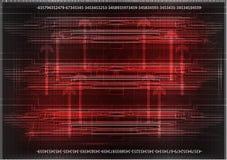 Высокотехнологичный Комплект линий на красной предпосылке Стоковое Изображение RF