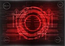Высокотехнологичный Комплект линий на красной предпосылке Стоковые Фото