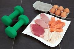 Высоко- еда протеина для построителей тела стоковое изображение