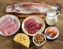 Высоко- еда протеина для сбалансированного здорового питания стоковая фотография rf