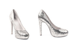 Высоко-накрененный изолированный ботинок обуви стоковое фото rf