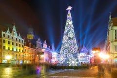 Выставка лазера света на рыночной площади, Wroclaw, Польше стоковая фотография