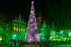 Выставка лазера света на рыночной площади, Wroclaw, Польше стоковое изображение