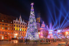 Выставка лазера света на рыночной площади, Wroclaw, Польше стоковая фотография rf