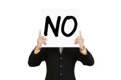 Выставка бизнесмена формулируя нет на бумажной доске Стоковое Изображение RF