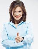 Выставка большого пальца руки бизнес-леди поднимающая вверх Стоковые Изображения RF