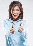 Выставка большого пальца руки бизнес-леди поднимающая вверх Стоковое Изображение