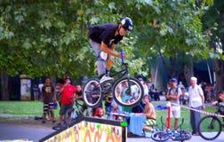 Выставка велосипедиста в парке города Стоковые Фотографии RF