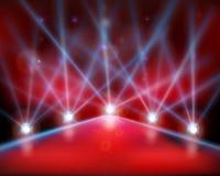 Выставка взлётно-посадочная дорожка, лазерные лучи также вектор иллюстрации притяжки corel Стоковое Изображение RF