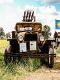 Выставка винтажных автомобилей в деревне Polotnyany Zavod, зоны Kaluga, России Стоковое Изображение