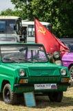 Выставка винтажных автомобилей в деревне Polotnyany Zavod, зоны Kaluga, России Стоковое Фото