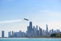 Выставка воздуха и воды Чикаго, ангелы Американского флота голубые Стоковая Фотография