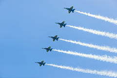 Выставка воздуха и воды Чикаго, ангелы Американского флота голубые Стоковые Изображения RF